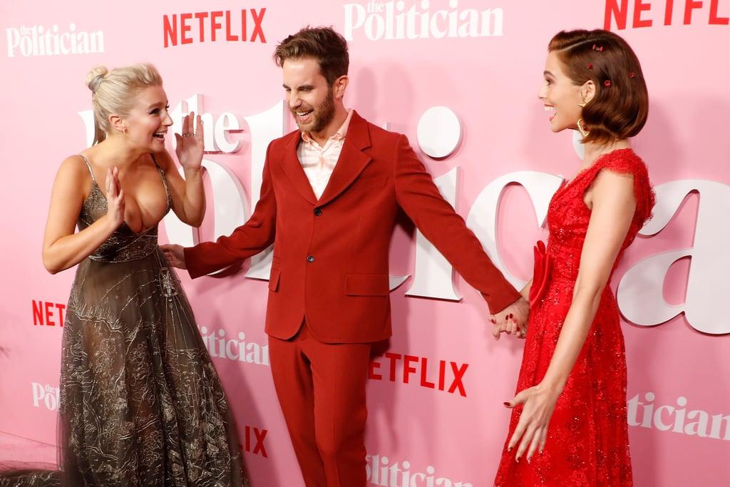 Julia Schlaepfer, Zoey Deutch, and Ben Platt at The Politician Premiere