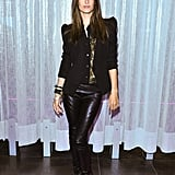 Think of this as your alternative to the typical dinner-and-drinks look, and channel Alessandra Ambrosio's approach in leather pants and animal-print heels.