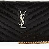 Saint Laurent Monogram Matelasse Wallet on Chain, Black