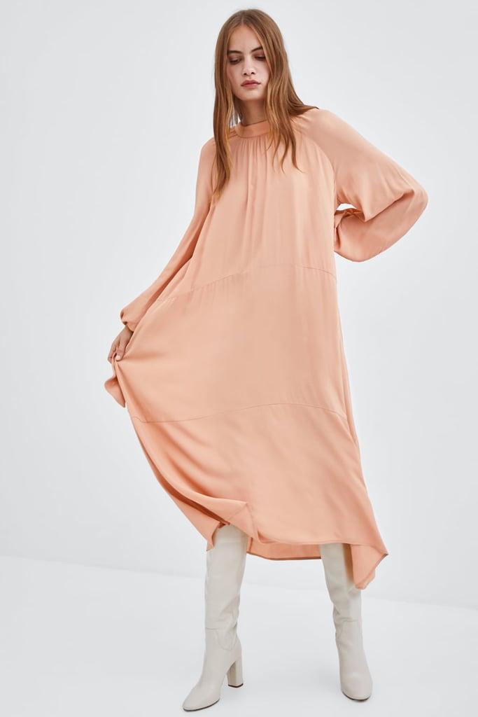 9b9ee029 Zara Dress With Tie Sleeves | Ashley Olsen Tan Maxi Dress in LA 2018 ...