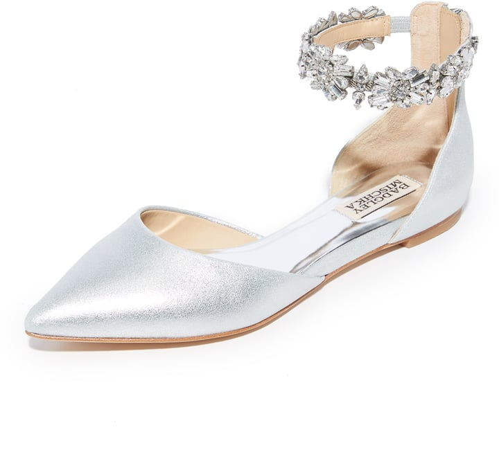 Badgley Mischka Morgen Satin Jewel Ankle Detail Flats DKNdCuIbI