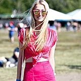 For this festivalgoer, all pink everything was the way to go.