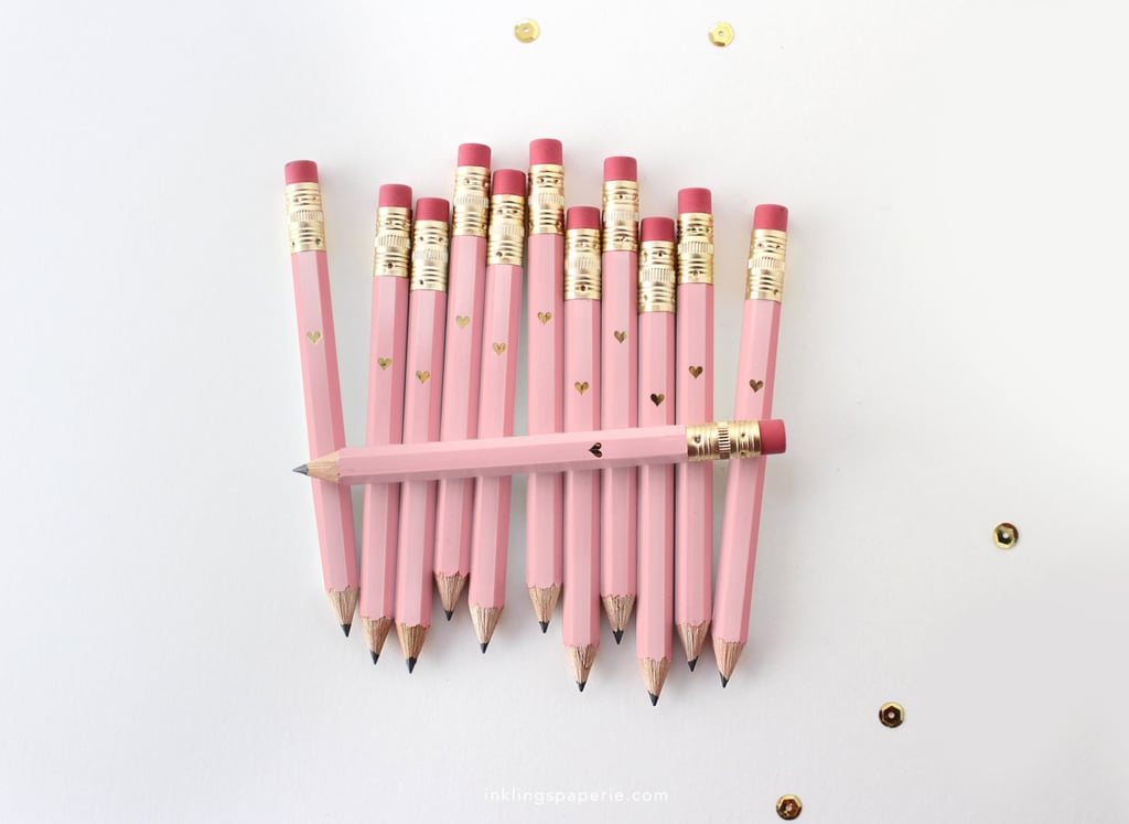 Mini Pink and Gold Heart Pencils ($8 for a set of 12)