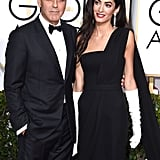 Amal Clooney's Golden Globes appearance marked her very first award show, and she was sweetly hooked onto the arm of her handsome husband, George Clooney.