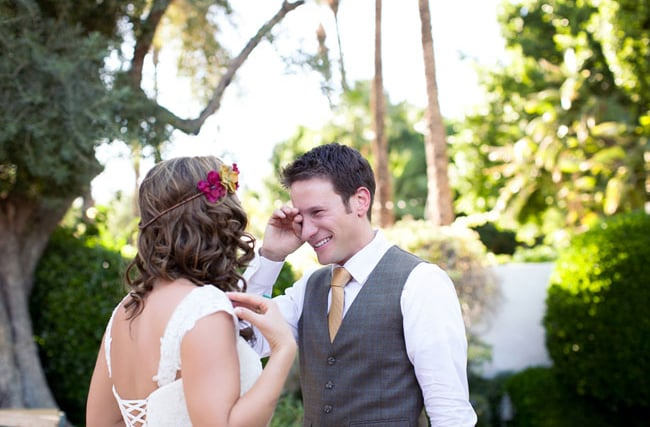 Meaningful glance.  Photo by Ashleigh Taylor Photography via Green Wedding Shoes