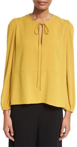Co Tie-Neck Crepe Blouse in Marigold ($625)