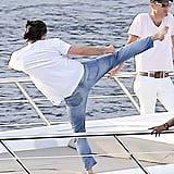 Leonardo DiCaprio Practices Karate on a Yacht | Pictures