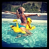Doutzen Kroes had a blast in her bikini during a recent pool day. Source: Instagram user doutzen