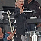 Gwen Stefani got ready for her NFL Kickoff live performance.