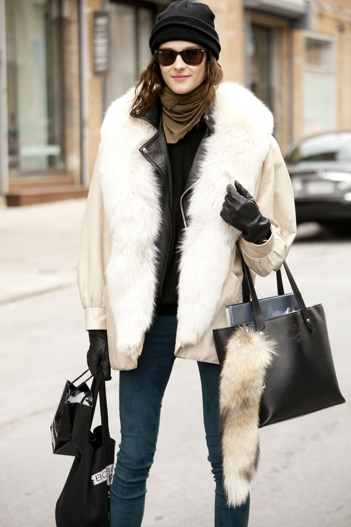 This look is all about the plush furs and contrasting slim denim.