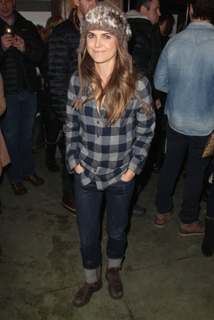 Keri Russell took on plaid flannel, cuffed denim, and a Fair Isle knit beanie in Park City, UT.
