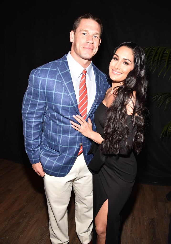John Cena and Nikki Bella brought the sexy to the MTV Movie and TV Awards. The hot couple posed for photos before taking their seats to enjoy the star-studded show, where John also presented an award. Their date-night appearance proved John and Bella are still riding high after his epic proposal at WrestleMania 33 last month. If these photos aren't enough hotness for you, be sure to check out John and Bella's naked dancing video, because you know you want to.