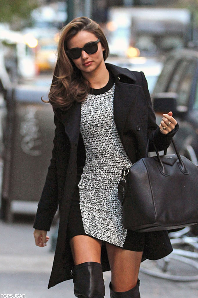 miranda kerr wore a fitted dress and thigh high boots