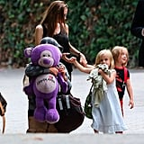 Angelina Jolie was out and about in Santa Barbara with Pax and the twins, Knox and Vivienne, on Labor Day.