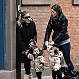 Sarah Jessica Parker Navigates Snowy NYC With Her Now-Walking Twin Girls!