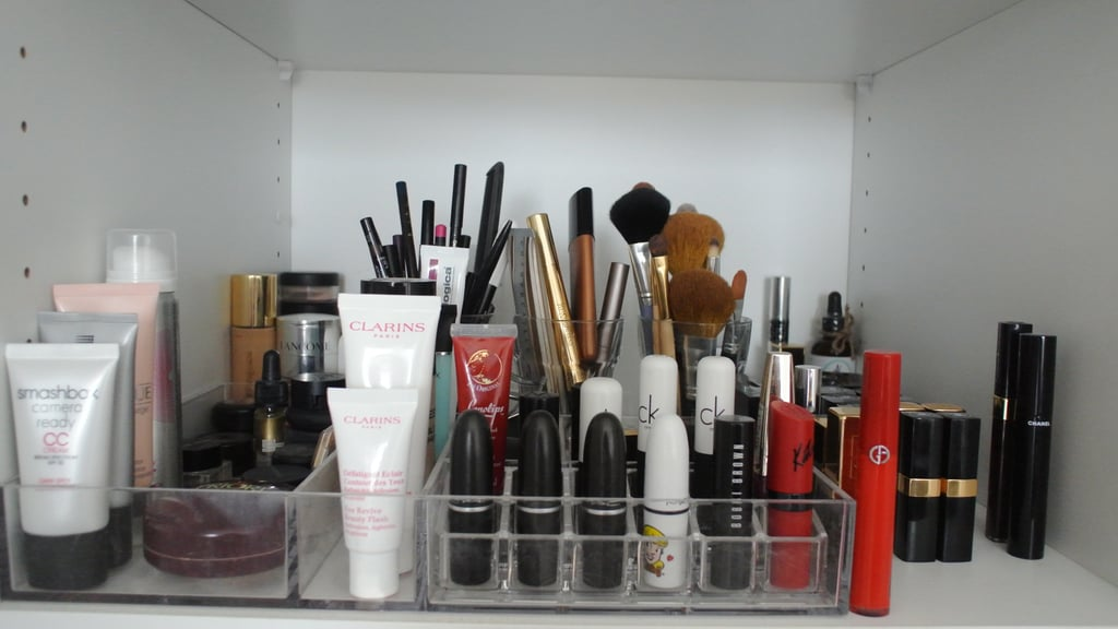 The pièce de résistance — the makeup section of my wardrobe. Being a beauty editor, I'm much more interested in experimenting with my makeup look than my style. I trial a lot of stuff, so I like to keep everything in its own little area. There's BB and CC creams, primers, lipsticks, bronzers, blushes, highlighters, eye pencils, brushes, foundations. . .