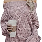 Astylish Knitted Off-the-Shoulder Oversized Sweater in Pink