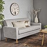 Midcentury Modern Three Seater Light Gray Tweed Fabric Sofa