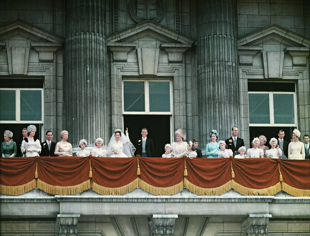 The royal family including queen elizabeth ii in bright for Queens wedding balcony