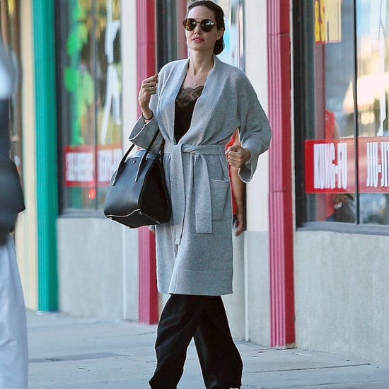 Angelina Jolie Wearing Gray Robe