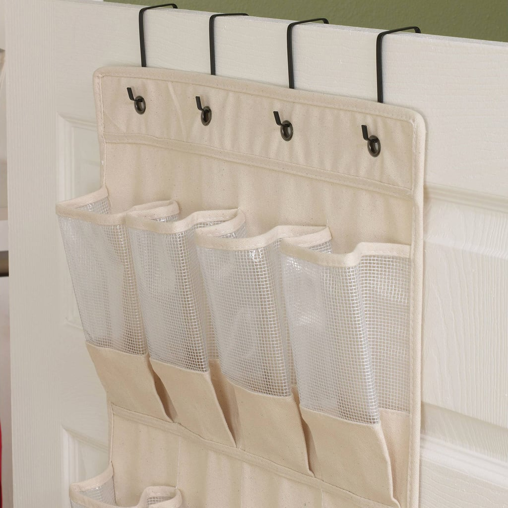 Hang a shoe organizer on the back of a seat.
