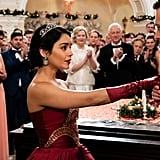 "I must say: Stacy-as-Margaret's deep red gown for the charity ball is actually really pretty! Netflix has clearly upped their costume budget since A Christmas Prince. Unfortunately it looks like their budget for extras has not increased, because there are approximately 15 people at this ""ball,"" in total. Dear God, this event is about as glamorous as my seventh grade birthday party, which was held in my unfinished basement. Stacy and Edward sneak away from the ""castle"" for a romantic dance in a gazebo that looks like it was constructed out of balsa wood 10 minutes before the crew started shooting that scene. There's also a cameo from a very fake-looking moon. The gazebo dance was apparently enough to make both Stacy and frigid Edward fall in love!"