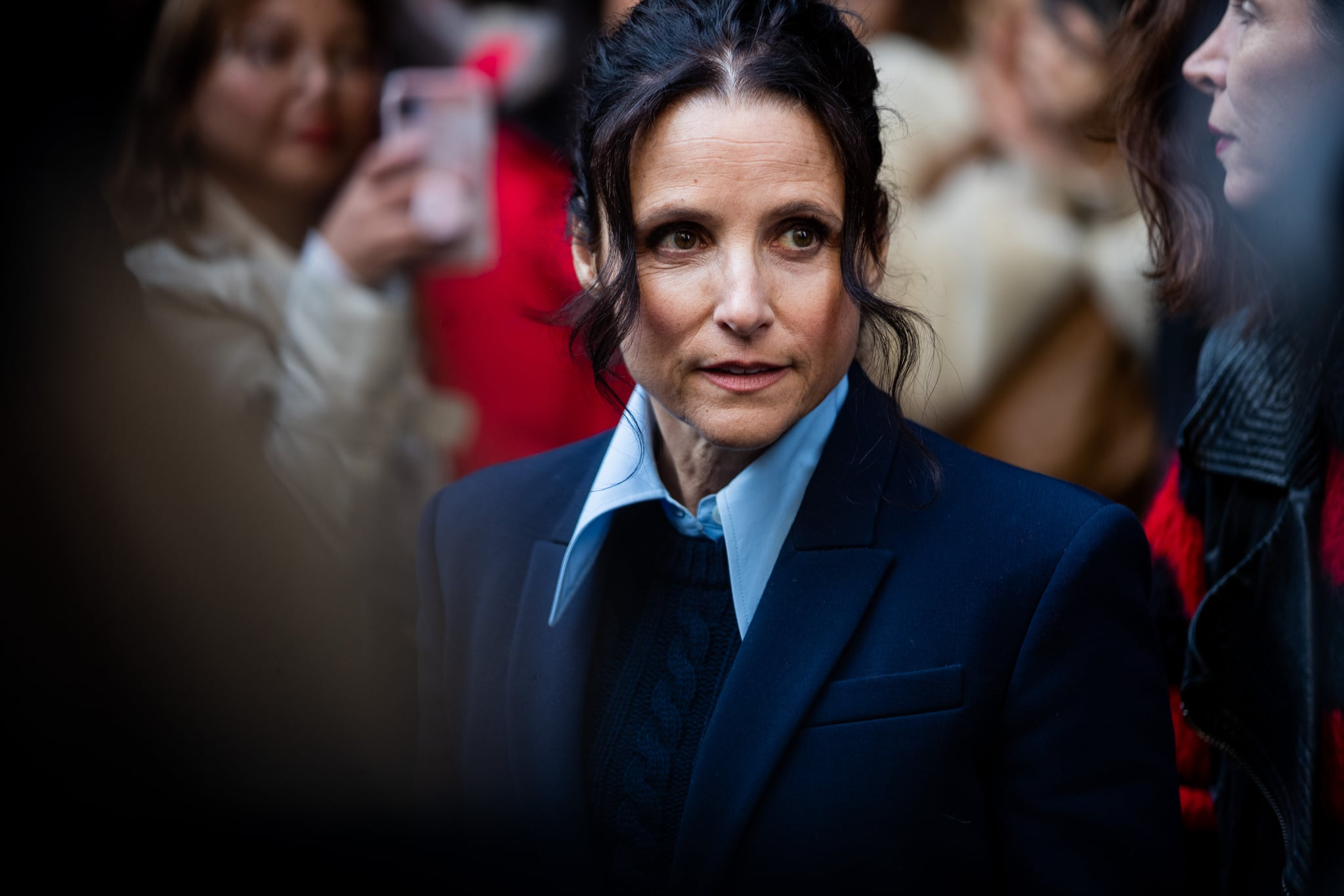 NEW YORK, NEW YORK - FEBRUARY 12: Julia Louis-Dreyfus is seen outside Michael Kors during New York Fashion Week Fall / Winter 2020 on February 12, 2020 in New York City. (Photo by Christian Vierig/Getty Images)