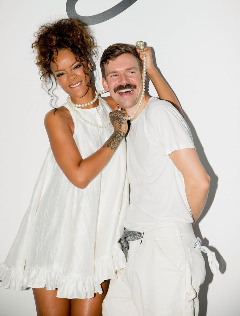 Rihanna goofed around with designer Adam Selman after his presentation on Friday.
