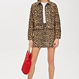 Topshop Leopard Print Denim Jacket and Skirt Co-Ord