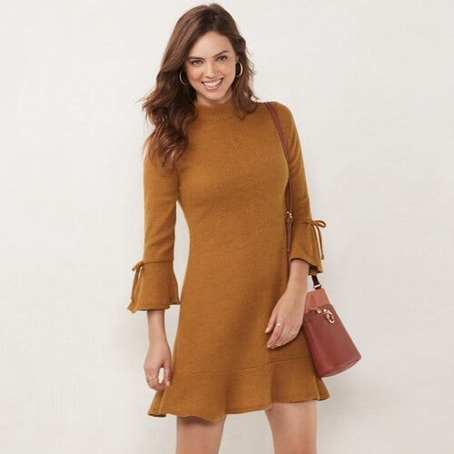 LC Lauren Conrad Petite Flared-Sleeve Mockneck Swing Dress