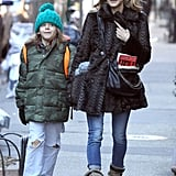 Sarah Jessica Parker walked alongside James Wilkie.