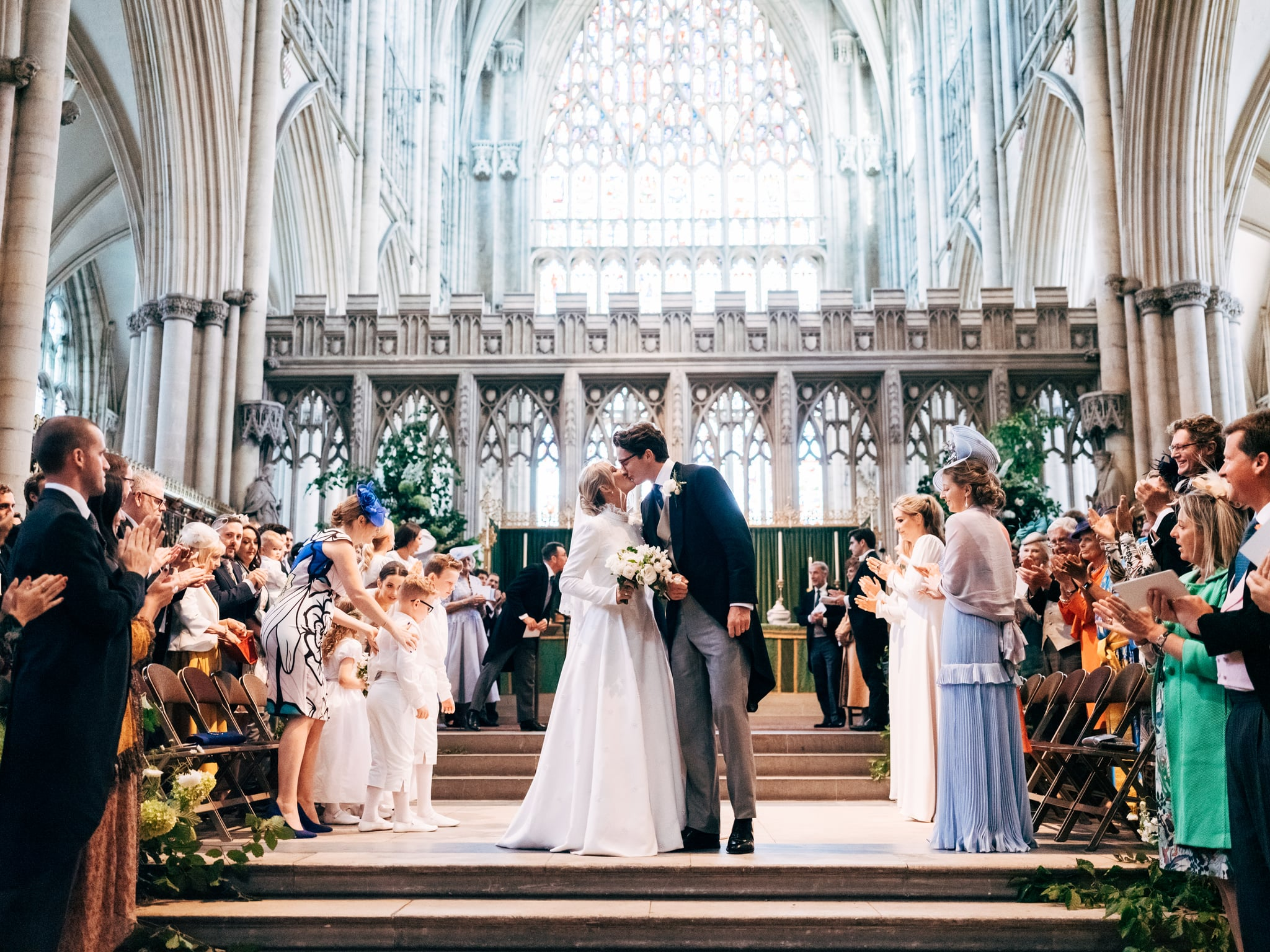 'Ellie Goulding and Caspar Jopling leave York Minster Cathedral following their wedding today in Yorkshire, England. Ellie wears a Chloé bespoke wedding dress designed by Natacha Ramsay-Lévi, Caspar wears bespoke tailoring by Huntsman.Photo credit Matt Porteous @ Weddings_M'