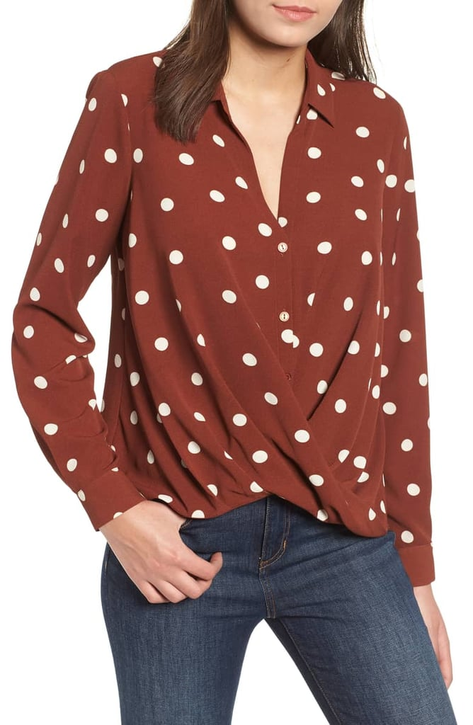 Patterned Drape-Front Blouse