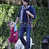 Ben Affleck wrapped up in a scarf on a walk with his daughter, Violet.