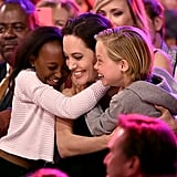 Angelina shared a sweet embrace with Zahara and Shiloh at the Teen Choice Awards in 2015.