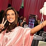 Peace! Alessandra Ambrosio takes a quick selfie backstage.