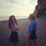 "Best friends Taylor Swift and Lorde had a ""bare feet in the sand"" kind of day together. Source: Instagram user taylorswift"
