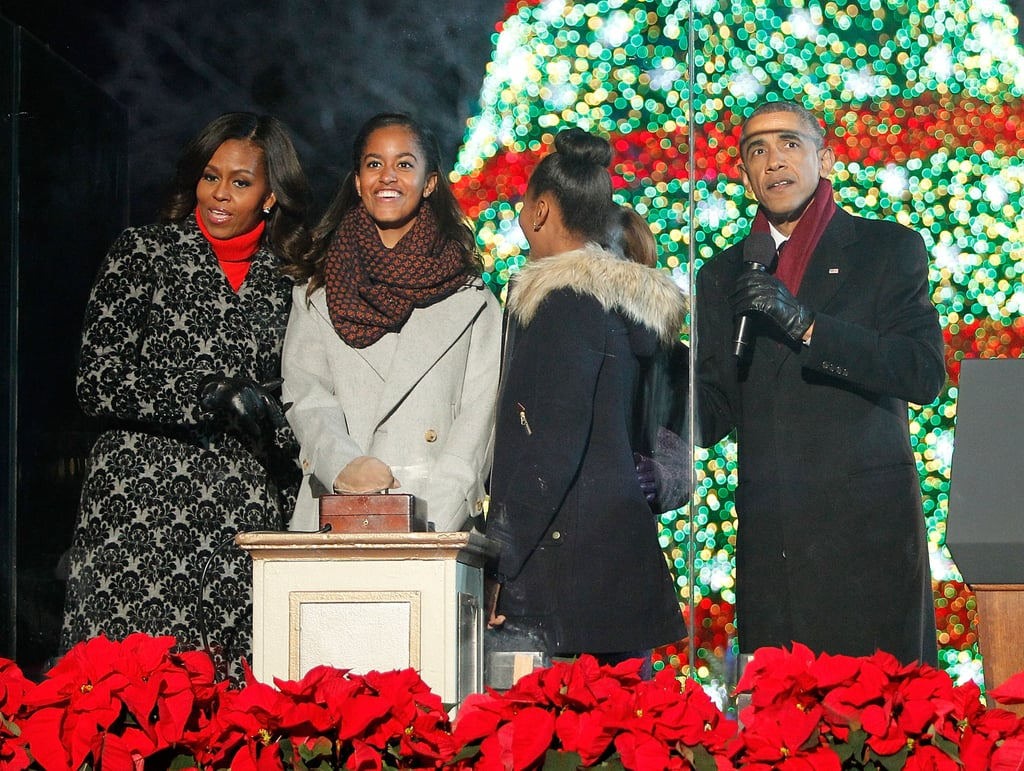 Michelle chose the cozy combination of a red turtleneck and printed coat at the National Christmas Tree Lighting Ceremony this year.