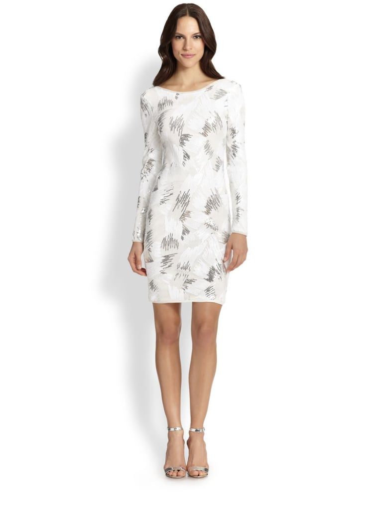 BCBG Max Azria Sequin Long-Sleeve Cocktail Dress