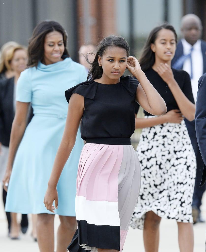 Michelle Obama Wearing Blue Carolina Herrera Dress