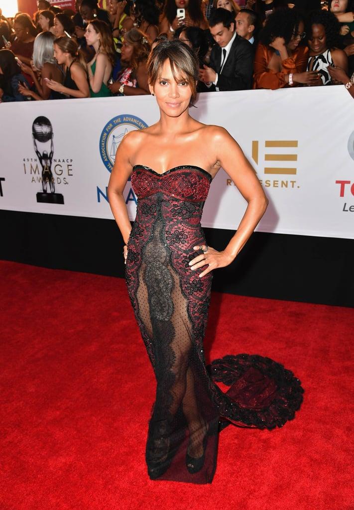 Halle Berry Sheer Reem Acra Dress | POPSUGAR Fashion