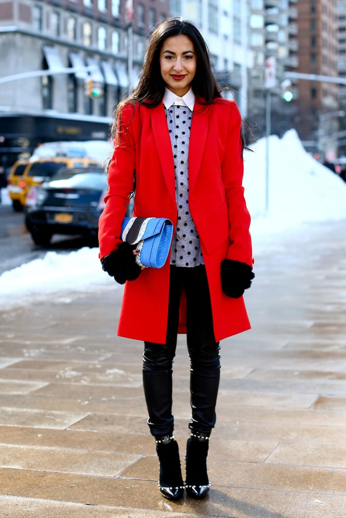Now, this is a statement coat — a simple silhouette, but a bold flash of color.