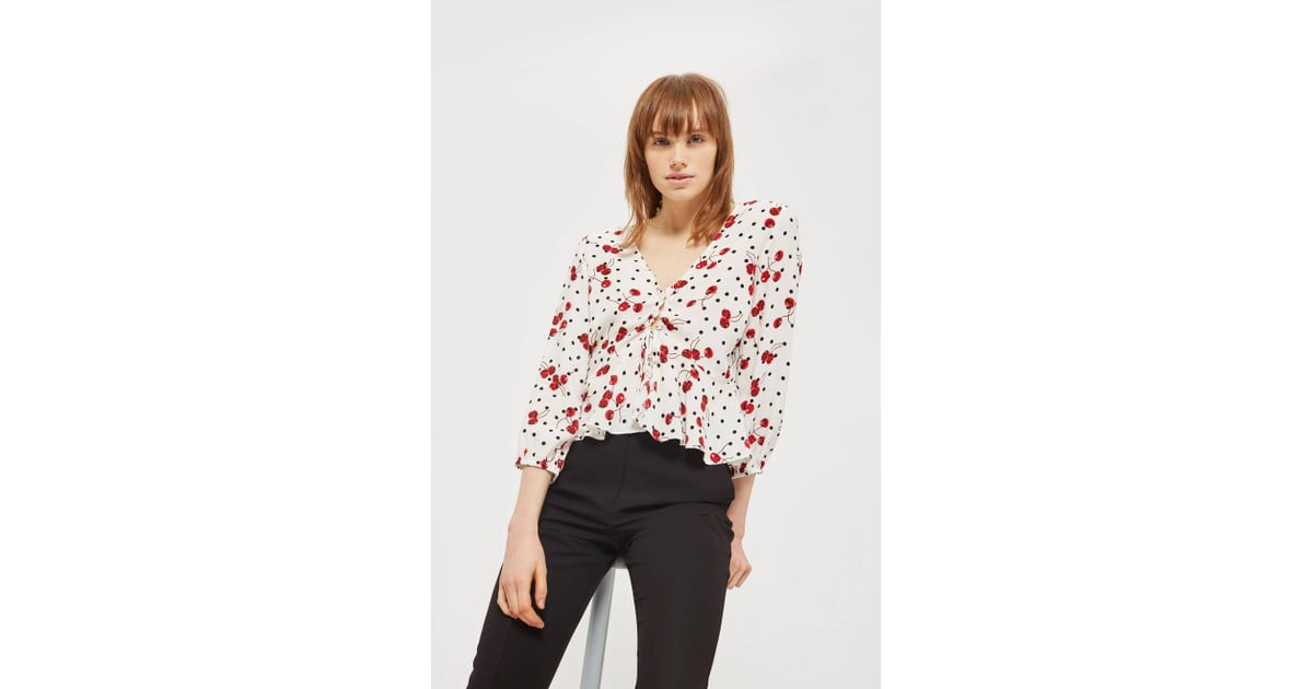Spot and Cherry Print Blouse | Topshop