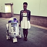 """Me and my favorite droid #R2D2 @starwars press day. Here we go. #TheForceAwakens #catchingupwitholdfriends"""