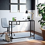 Nathan James Jayde Small Glass Laptop Metal Console Table