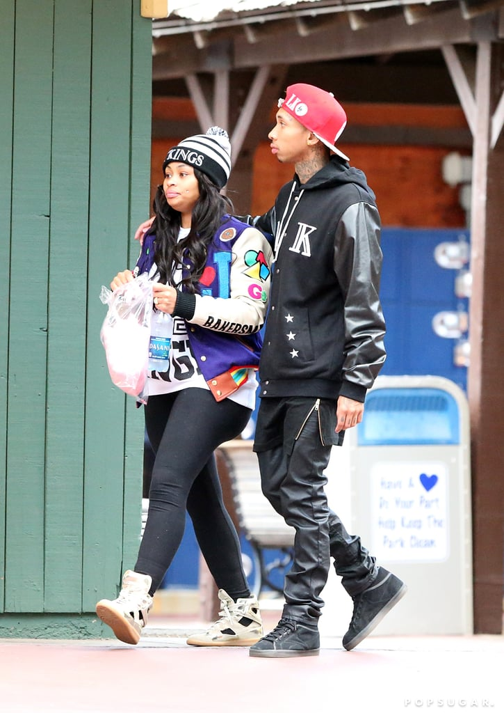 Blac Chyna and Tyga shared cotton candy during the birthday festivities.