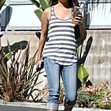 Mila Kunis wore a striped tank top and jeans for a day out in LA.