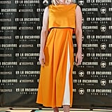At the Mexico City photocall, Alice Eve went for bold in a sunny ankle-length dress, which also featured a flash of white in the folds. To finish it off, she wore metallic pumps.
