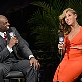 Deion Sanders was supposed to be asking Beyoncé questions about her Super Bowl halftime show, but he just couldn't.