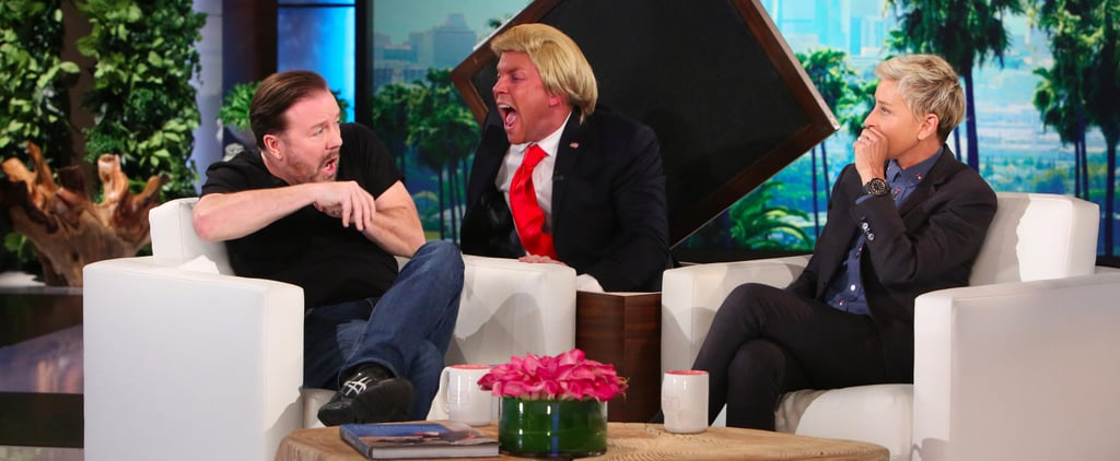 Ricky Gervais Scare on The Ellen Show Video 2016